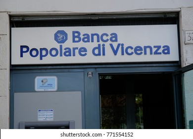 Rome, Italy - August 11, 2017: Banca Popolare di Vicenza branch. Banca Popolare di Vicenza is an Italian bank. The bank was the 13th largest retail and corporate bank of Italy by total assets
