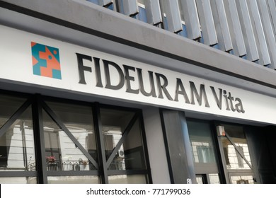 Rome, Italy - August 11, 2017: Fideuram branch. Fideuram is among the key private banking players in Italy, it ranks first among the financial advisory networks