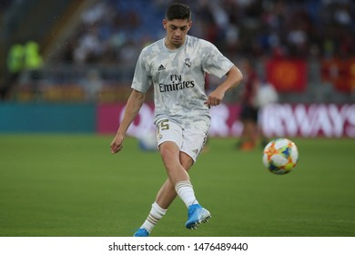 Rome, Italy - August 11,2019: Valverde (REAL MADRID) during training before the friendly match AS ROMA VS REAL MADRID  at Stadio Olimpico in Rome.
