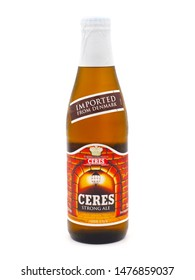 ROME, ITALY - AUGUST 12, 2019. Bottle of Ceres Strong Ale beer isolated on white background. Ceres Brewery was a brewery company located in Århus, Denmark.