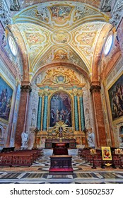 Rome, Italy - August 14, 2016: Altar at Santa Maria Maggiore. This is one of the first churches built in honor of the Virgin Mary, erected in the immediate aftermath of the Council of Ephesus of 431