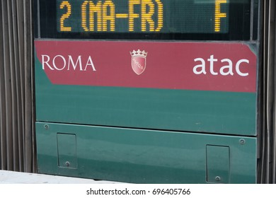 Rome, Italy - August 14, 2017: Atac logo on bus. Tramways Company and Coach of the Municipality of Rome (Atac) is the company that provides public transport in Rome and its surrounding municipalities