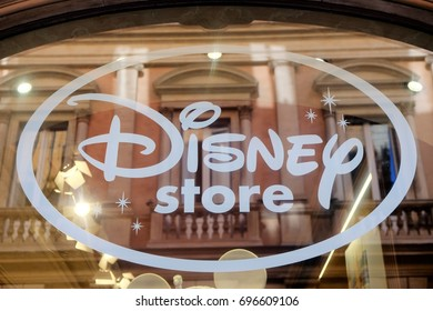 Rome, Italy - August 14, 2017: Disney store signage. The Disney Store is an international chain of specialty stores selling only Disney related items