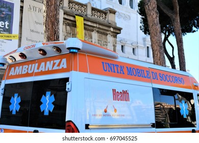 Rome, Italy - August 14, 2017: Italian Emergency Mobile Unit. An ambulance moving on a street in Rome during the day