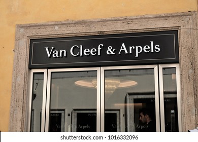 Rome, Italy - August 15, 2017: Van Cleef & Arpels store. Van Cleef and Arpels is a French jewelry, watch, and perfume company