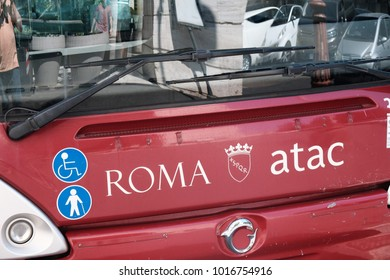 Rome, Italy - August 15, 2017: Atac bus. Tramways Company and Coach of the Municipality of Rome (Atac) is the company that provides public transport in Rome and its surrounding municipalities