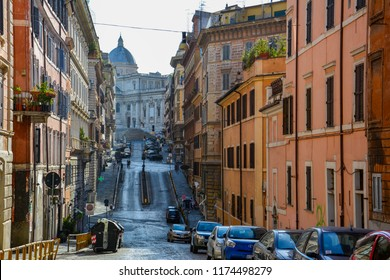 Rome / Italy — August 16, 2014: morning view of the street in the center of Rome near Esquiline hill with Basilica di Santa Maria Maggiore, one of the four Papal Basilicas in Rome, in the background
