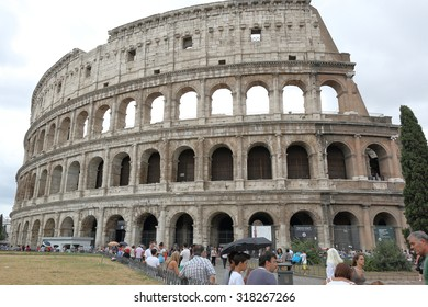 Rome, Italy - August 16, 2015: View on Roman Colosseum in cloudy weather
