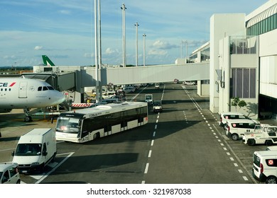 ROME, ITALY - AUGUST 16, 2015: docked jet aircraft in Fiumicino Airport. Fiumicino - Leonardo da Vinci International Airport is a major international airport in Rome, Italy