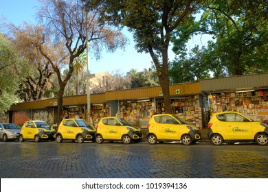 Rome, Italy - August 16, 2017: Share'ngo cars. SHARE'NGO is an Italian platform for the development of electric and sustainable mobility offering car sharing services free floating profiled rates