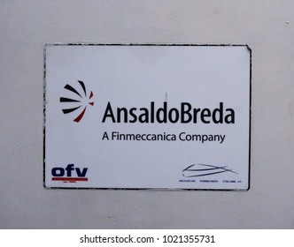 Rome, Italy - August 16, 2017: AnsaldoBreda sign. AnsaldoBreda S.p.A., a subsidiary of Finmeccanica, designs and manufactures locomotives and mass transit systems for operators of public transport