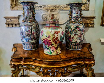 Rome, Italy, August 17, 2013: Vases in The Capitoline Museums ( Musei Capitolini)