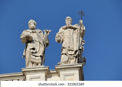 Rome, Italy - August 17, 2015: Detail of Papal Archbasilica of St. John Lateran. (It is the oldest and ranks first among the four Papal Basilicas and is officially the cathedral of Rome)