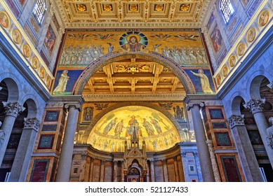 Rome, Italy - August 17, 2016: Basilica of Saint Paul Outside the Walls. Famous apse mosaic of Jesus Christ Pantokrator from1220, Rome, Italy