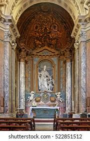 Rome, Italy - August 18, 2016: Cappella Albani in Basilica of St. Sebastian Outside the Walls, San Sebastiano fuori le mura, Rome, Italy