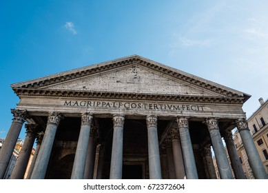 Rome, Italy - August 18, 2016: Outdoor view of the pediment of Pantheon of Agripa in Rome a sunny summer day. The Pantheon is a former Roman temple, now a church.