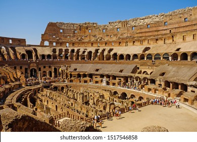 Rome, Italy - August 19, 2017: Interior of the Coliseum Flavian amphitheater (Anfiteatro Flavio, Colosseo). Inside the of Colosseum, famous tourist landmark. Antique roman gladiator arena.