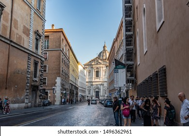 Rome / Italy - August 19, 2019: Corso del Rinascimento in the city center, at the end of it is the Church of St. Andrew of the Valley, or Sant'Andrea della Valle (in Italian)
