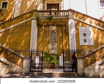 ROME, ITALY - AUGUST 20, 2018: Monastery of the Friars Minor Capuchin (Italian: Convento dei Frati Cappuccini) in Via Veneto.