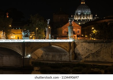 Rome, Italy (August 2012). Rome, Italy. Vatican dome of Saint Peter Basilica San Pietro and Sant'Angelo Eliev Bridge, over Tiber river. Dawn sunset time Cityscape