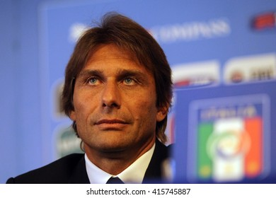 Rome, Italy - August 2014: Antonio Conte (coach of italy national soccer team) in pubblic press conference in Hotel Parco dei Principi on Agust 19, 2014 in Rome