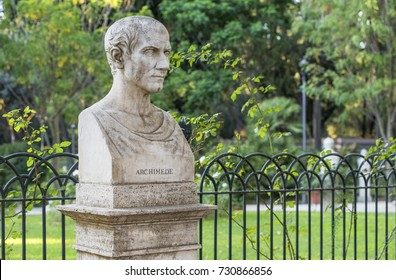 Rome, Italy - August 2017: Archimedes bust in the park on the Pincian Hill