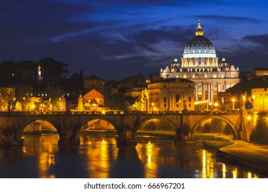 ROME, ITALY - AUGUST 21, 2014: Monumental St. Peters Basilica over Tiber at night in Rome, Italy. St. Peters Basilica is papal late renaissance basilica consecrated in 1626.