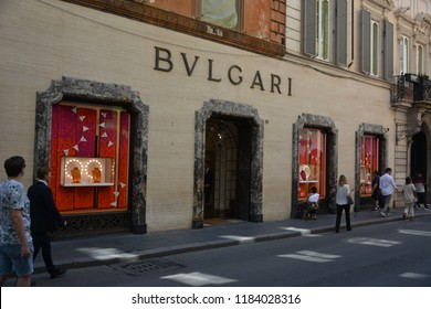 ROME, ITALY - AUGUST 21, 2018: World famous brands and the shops at Via dei Condotti in Rome