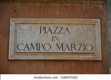 ROME, ITALY - AUGUST 21, 2018: Piazza in Campo Marzio street sign in Rome