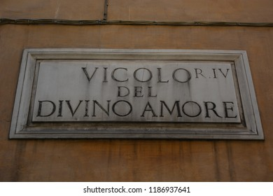 ROME, ITALY - AUGUST 21, 2018: Vicolo del Divino Amore street sign in Rome
