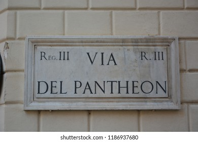 ROME, ITALY - AUGUST 21, 2018: Via del Pantheon street sign in Rome