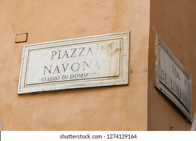 ROME, ITALY - AUGUST 21, 2018: Piazza Navona Street Sign in Rome City
