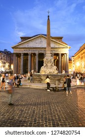 ROME, ITALY - AUGUST 21, 2018: Piazza della Rotonda and Pantheon during sunset in Rome city