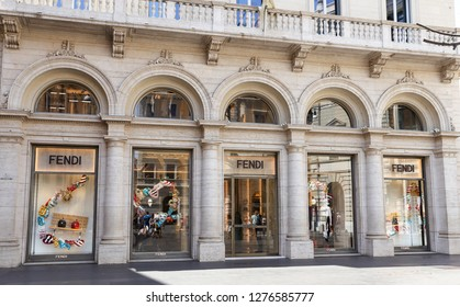 ROME, ITALY - AUGUST 21, 2018: Fendi Store in Via Condotti, Rome city