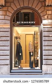ROME, ITALY - AUGUST 21, 2018: Burberry Store in Via Condotti, Rome city