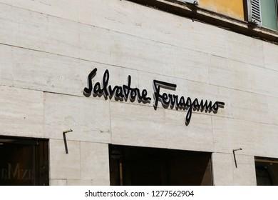 ROME, ITALY - AUGUST 21, 2018: Salvatore Ferragamo Store in Via Condotti, Rome city