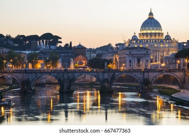 ROME, ITALY - AUGUST 22, 2014: Monumental St. Peters Basilica over Tiber at twilight in Rome, Italy. St. Peters Basilica is papal late renaissance basilica consecrated in 1626.