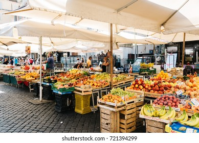 Rome, Italy - August 22, 2016: Street market with fruits in Campo di Fiori square in Rome.