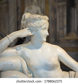 ROME, ITALY - AUGUST 24, 2018: detail of Antonio Canova's Statue of Pauline Bonaparte, his masterpiece located in Villa Borghese
