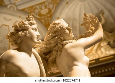 ROME, ITALY - AUGUST 24, 2018: Gian Lorenzo Bernini masterpiece, Apollo e Dafne, dated 1625