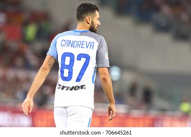 ROME, ITALY - AUGUST 26,2017: Antonio Candreva during fotball match serie A League 2017/2018 between AS Roma vs Inter at the Olimpic Stadium on August 20, 2017 in Rome.