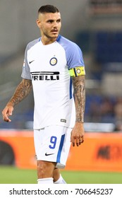 ROME, ITALY - AUGUST 26,2017: Mauro Icardi during fotball match serie A League 2017/2018 between AS Roma vs Inter at the Olimpic Stadium on August 20, 2017 in Rome.