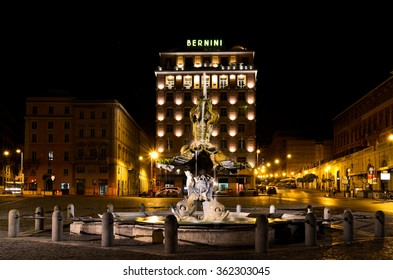 ROME, ITALY - AUGUST 27 2011: Night version of Triton Fountain, appropriately illuminated by the headlights.