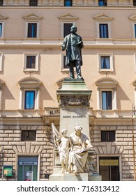 ROME, ITALY - AUGUST 28, 2017 - Monument to Marco Minghetti in the center of Rome, Italy. He was an Italian economist and statesman.