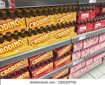 Rome, Italy - August 28, 2018: Crodino bottles for sale displayed on a supermarket shelf. Crodino is a non-alcoholic bitter aperitif, part of Gruppo Campari