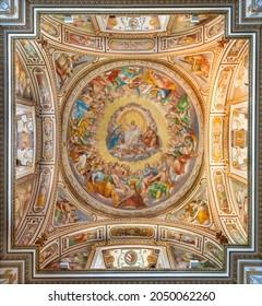 ROME, ITALY - AUGUST 30, 2021: The cupola of Cappella Salviati with the fresco of Jesus in the Glory in the church Chiesa di San Gregorio al Cielo by Francesco da Volterra and Carlo Maderno (1600).