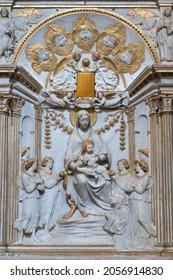 ROME, ITALY - AUGUST 30, 2021: The renaissance relief of Madonna in the church Chiesa di San Gregorio al Cielo and Cappella Salviati by Andrea Bregno (1469).