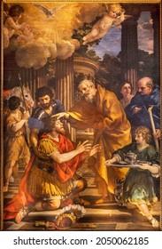 ROME, ITALY - AUGUST 31, 2021: The painting Baptism of St. Paul in the church Santa Maria della Concezione dei Cappuccini by Pietro Berrettini da Cortona (1596 - 1669).