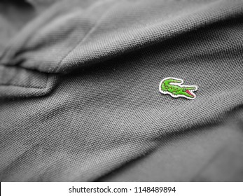 Rome, Italy, august 3rd 2018: close up view of a Lacoste grey polo shirt. Focus on the sewn crocodile