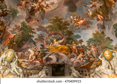 ROME, ITALY - AUGUST 4, 2016: Marvellous fresco with Marcus Furius Camillus' battle victory (close-up) from Villa Borghese's hall, XVII century